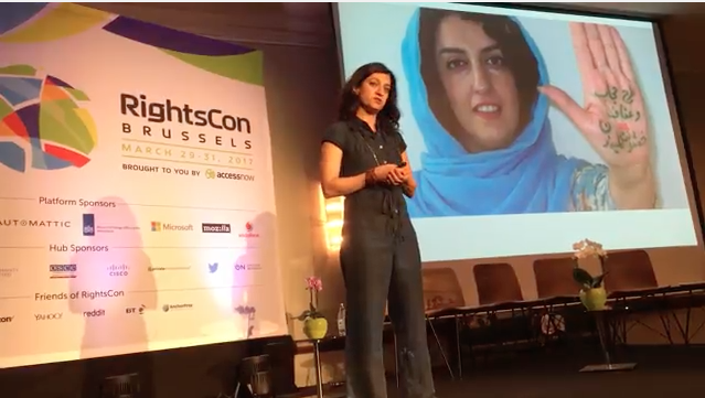 Firuzeh Mahmoudi, Director of United for Iran, speaks on civic tech at RightsCon 2017